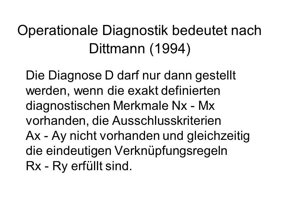 Operationale Diagnostik bedeutet nach Dittmann (1994) Die Diagnose D darf nur dann gestellt werden, wenn die exakt definierten diagnostischen Merkmal