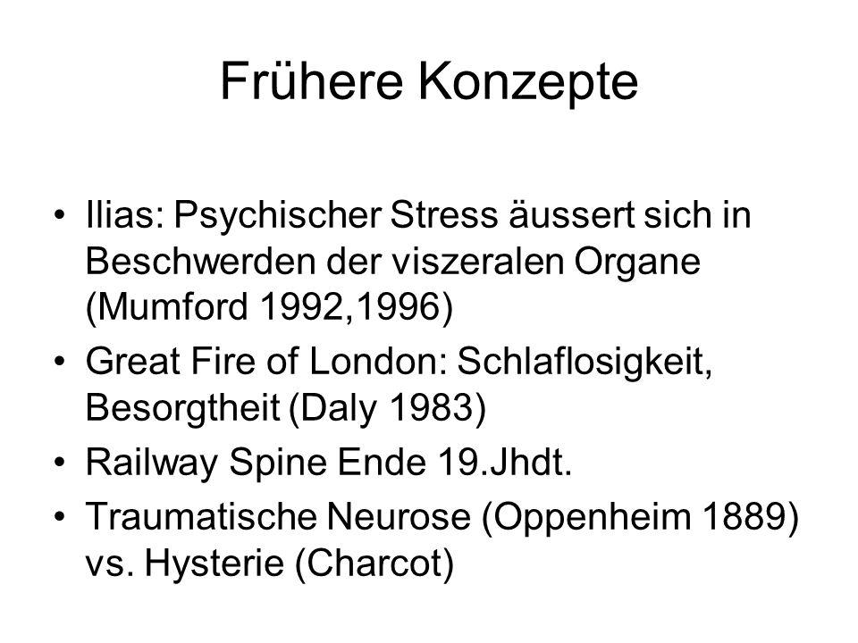 Frühere Konzepte Ilias: Psychischer Stress äussert sich in Beschwerden der viszeralen Organe (Mumford 1992,1996) Great Fire of London: Schlaflosigkeit