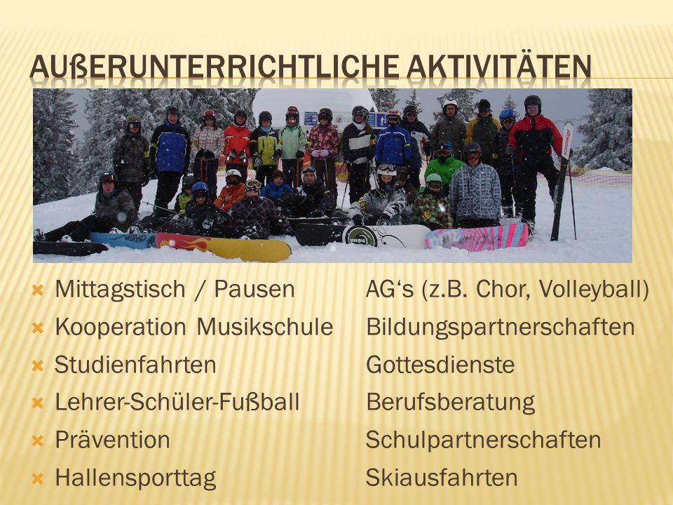Mittagstisch / PausenAGs (z.B. Chor, Volleyball) Kooperation MusikschuleBildungspartnerschaften StudienfahrtenGottesdienste Lehrer-Schüler-FußballBeru