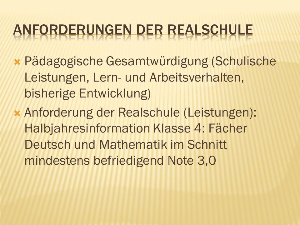 Pädagogische Gesamtwürdigung (Schulische Leistungen, Lern- und Arbeitsverhalten, bisherige Entwicklung) Anforderung der Realschule (Leistungen): Halbj
