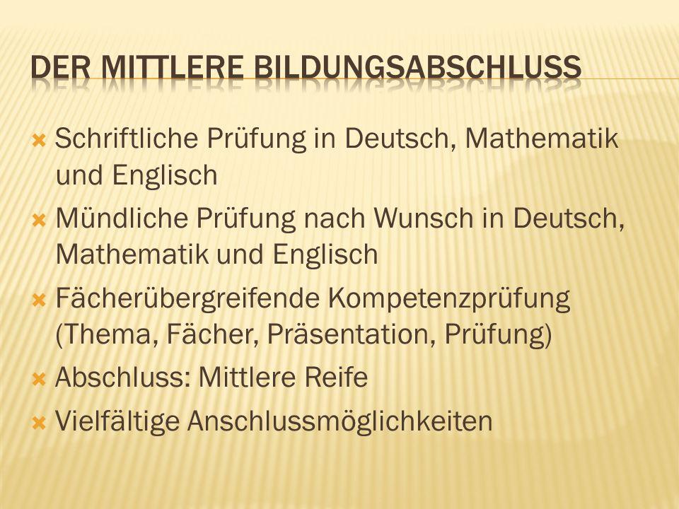 Schriftliche Prüfung in Deutsch, Mathematik und Englisch Mündliche Prüfung nach Wunsch in Deutsch, Mathematik und Englisch Fächerübergreifende Kompete