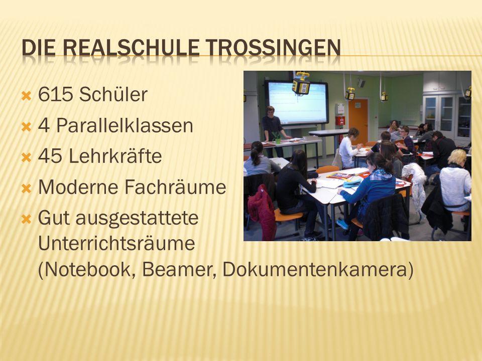 615 Schüler 4 Parallelklassen 45 Lehrkräfte Moderne Fachräume Gut ausgestattete Unterrichtsräume (Notebook, Beamer, Dokumentenkamera)