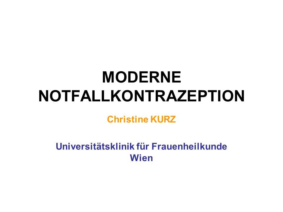 MODERNE NOTFALLKONTRAZEPTION Christine KURZ Universitätsklinik für Frauenheilkunde Wien