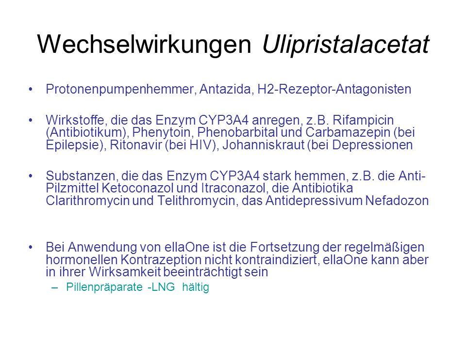 Wechselwirkungen Ulipristalacetat Protonenpumpenhemmer, Antazida, H2-Rezeptor-Antagonisten Wirkstoffe, die das Enzym CYP3A4 anregen, z.B. Rifampicin (