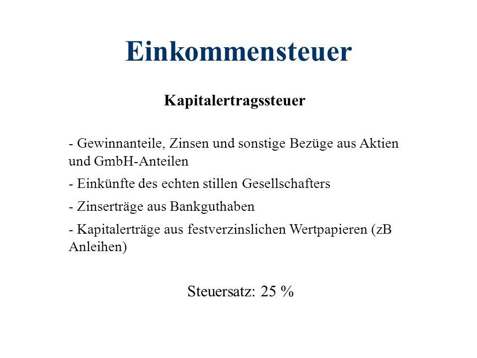 Einkommensteuer Kapitalertragssteuer - Gewinnanteile, Zinsen und sonstige Bezüge aus Aktien und GmbH-Anteilen - Einkünfte des echten stillen Gesellsch