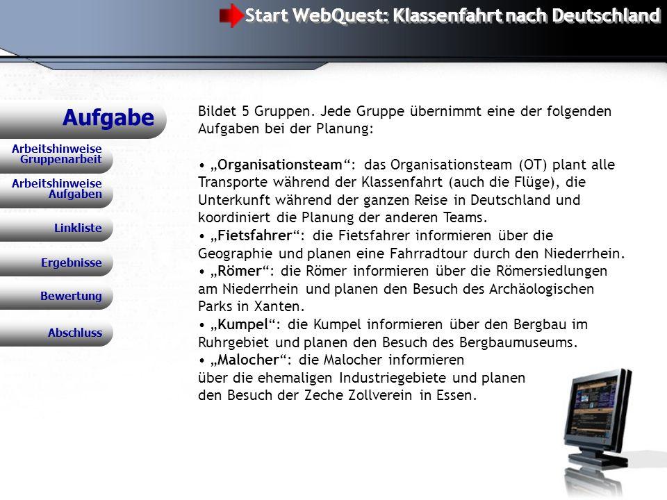 WebQuest: Klassenfahrt nach Deutschland Aufgabe Bewertung Linkliste Ergebnisse Arbeitshinweise Gruppenarbeit Bildet 5 Gruppen.