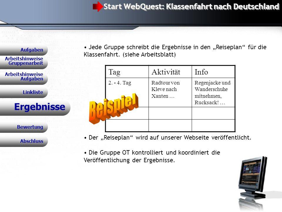 WebQuest: Klassenfahrt nach Deutschland Ergebnisse Jede Gruppe schreibt die Ergebnisse in den Reiseplan für die Klassenfahrt.