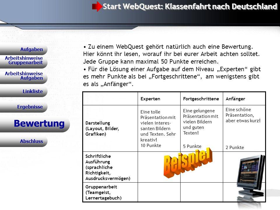 WebQuest: Klassenfahrt nach Deutschland Bewertung Zu einem WebQuest gehört natürlich auch eine Bewertung.