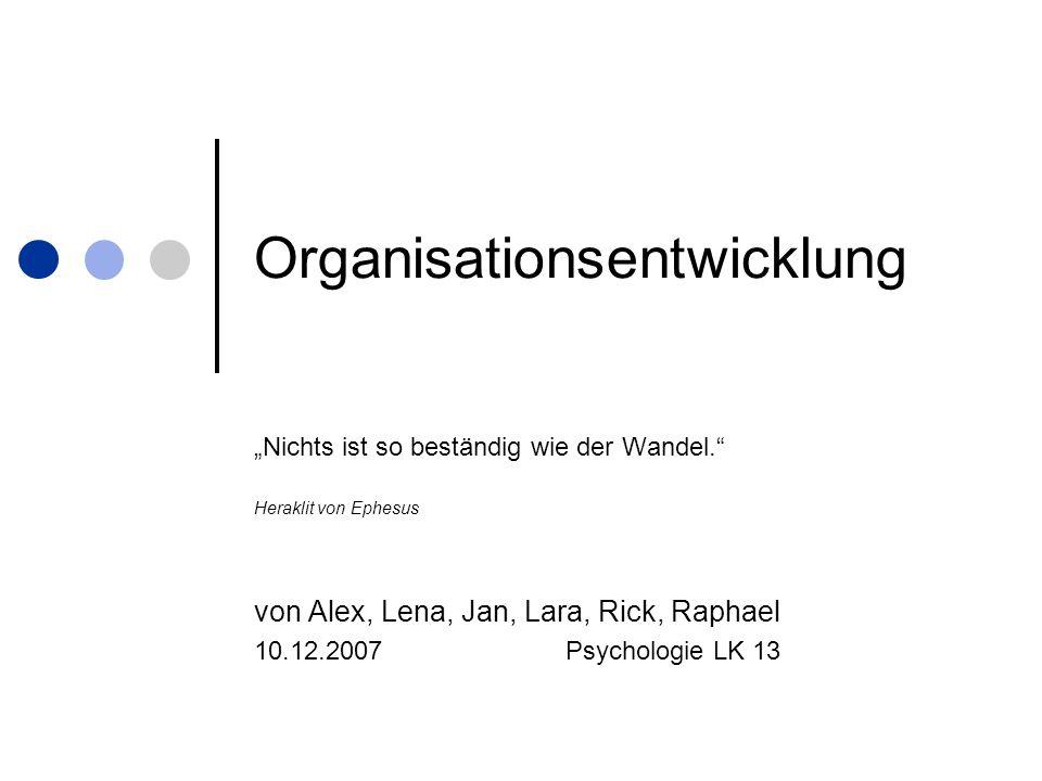 Organisationsentwicklung Nichts ist so beständig wie der Wandel. Heraklit von Ephesus von Alex, Lena, Jan, Lara, Rick, Raphael 10.12.2007 Psychologie