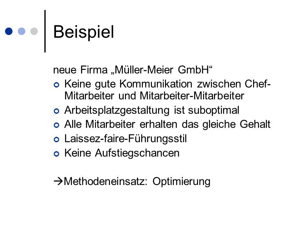 Beispiel neue Firma Müller-Meier GmbH Keine gute Kommunikation zwischen Chef- Mitarbeiter und Mitarbeiter-Mitarbeiter Arbeitsplatzgestaltung ist subop
