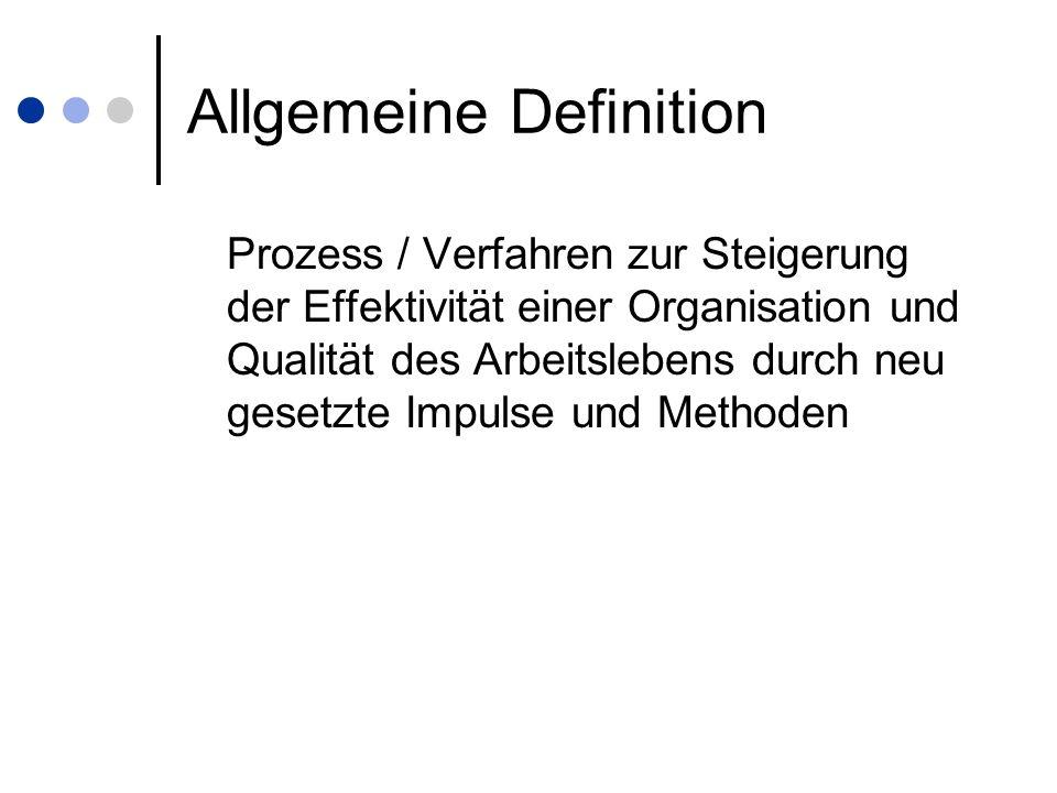 Beispiel neue Firma Müller-Meier GmbH Keine gute Kommunikation zwischen Chef- Mitarbeiter und Mitarbeiter-Mitarbeiter Arbeitsplatzgestaltung ist suboptimal Alle Mitarbeiter erhalten das gleiche Gehalt Laissez-faire-Führungsstil Keine Aufstiegschancen Methodeneinsatz: Optimierung