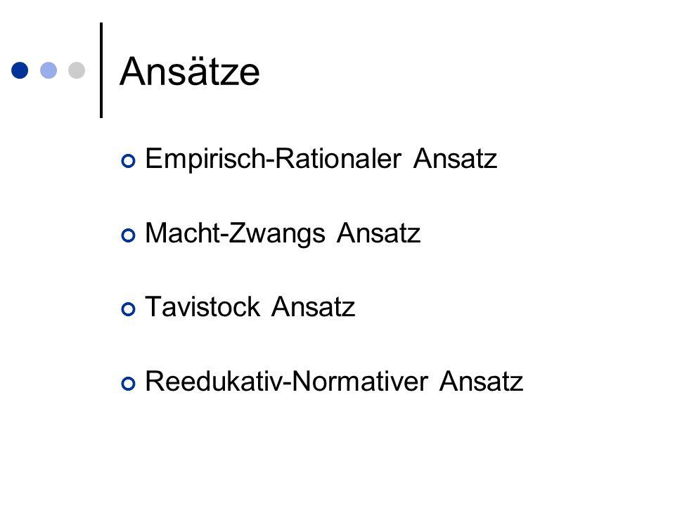 Ansätze Empirisch-Rationaler Ansatz Macht-Zwangs Ansatz Tavistock Ansatz Reedukativ-Normativer Ansatz