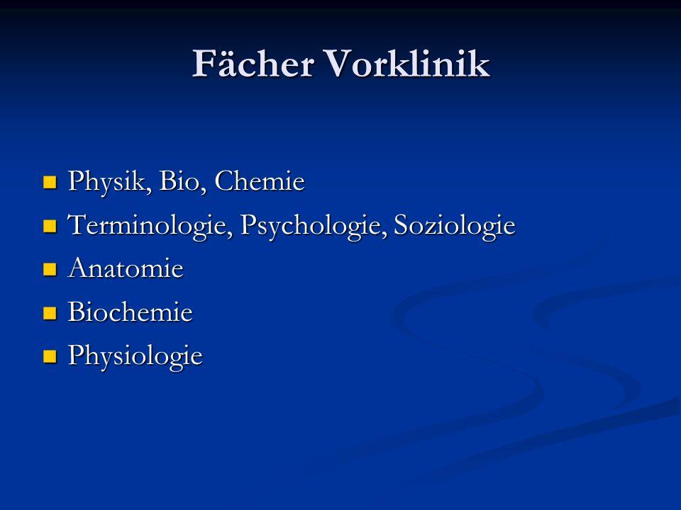 Fächer Vorklinik Physik, Bio, Chemie Physik, Bio, Chemie Terminologie, Psychologie, Soziologie Terminologie, Psychologie, Soziologie Anatomie Anatomie