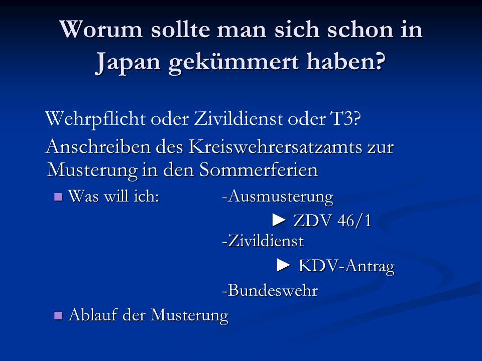 Worum sollte man sich schon in Japan gekümmert haben? Wehrpflicht oder Zivildienst oder T3? Anschreiben des Kreiswehrersatzamts zur Musterung in den S