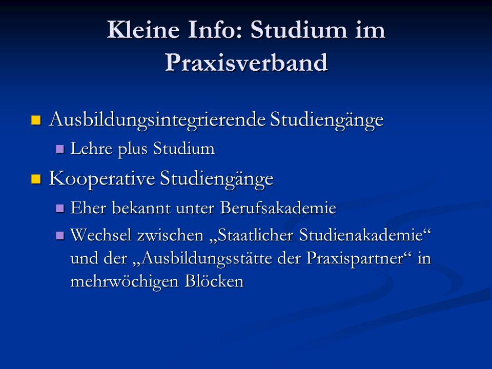 Kleine Info: Studium im Praxisverband Ausbildungsintegrierende Studiengänge Ausbildungsintegrierende Studiengänge Lehre plus Studium Lehre plus Studiu