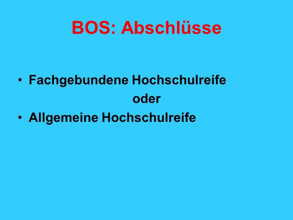 BOS: Abschlüsse Fachgebundene Hochschulreife oder Allgemeine Hochschulreife