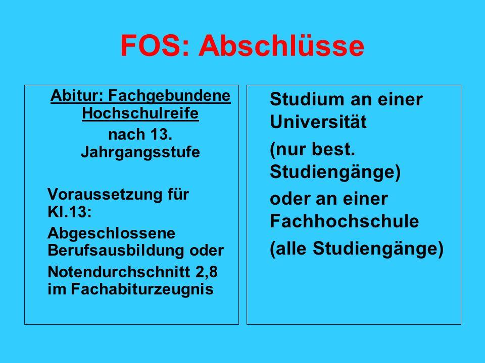 FOS: Abschlüsse Abitur: Fachgebundene Hochschulreife nach 13. Jahrgangsstufe Voraussetzung für Kl.13: Abgeschlossene Berufsausbildung oder Notendurchs