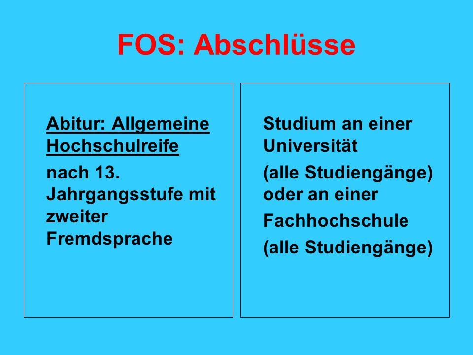 FOS: Abschlüsse Abitur: Allgemeine Hochschulreife nach 13. Jahrgangsstufe mit zweiter Fremdsprache Studium an einer Universität (alle Studiengänge) od