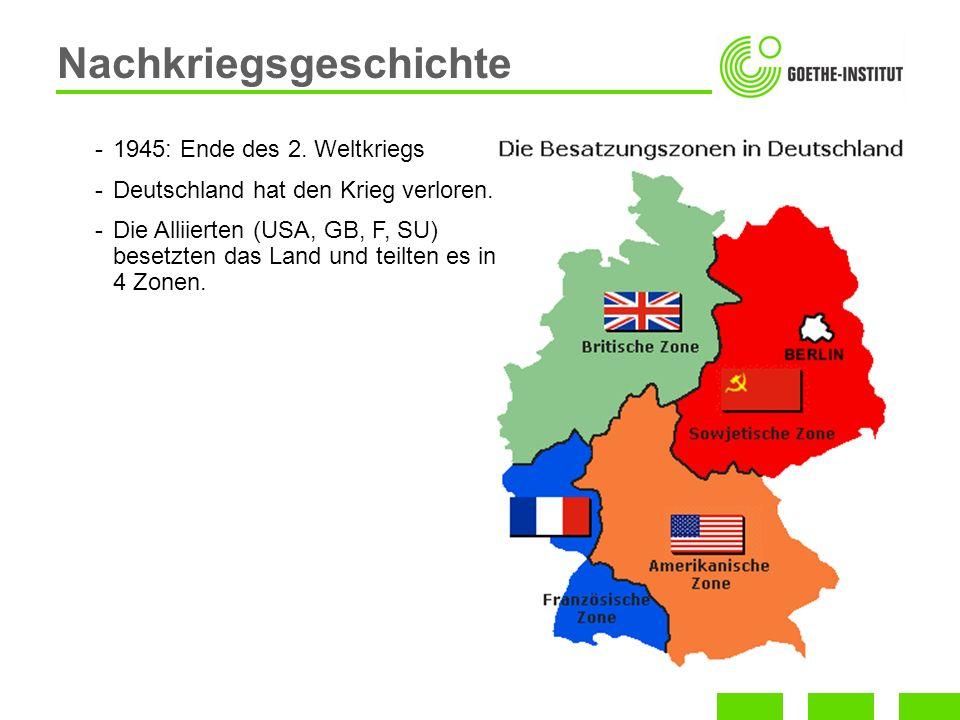 Nachkriegsgeschichte -1945: Ende des 2. Weltkriegs -Deutschland hat den Krieg verloren. -Die Alliierten (USA, GB, F, SU) besetzten das Land und teilte