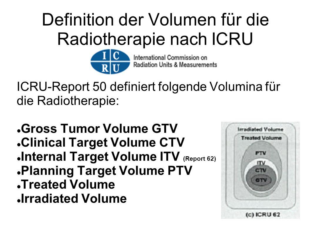 Definition der Volumen für die Radiotherapie nach ICRU ICRU-Report 50 definiert folgende Volumina für die Radiotherapie: Gross Tumor Volume GTV Clinic