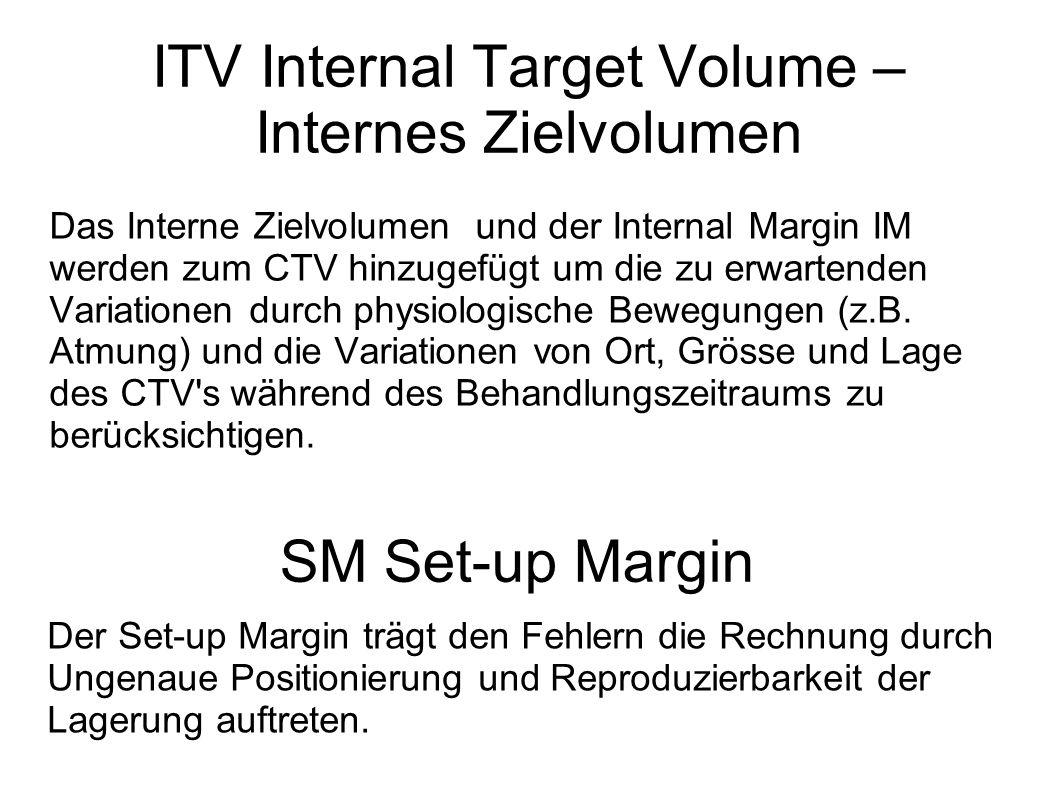 ITV Internal Target Volume – Internes Zielvolumen Das Interne Zielvolumen und der Internal Margin IM werden zum CTV hinzugefügt um die zu erwartenden