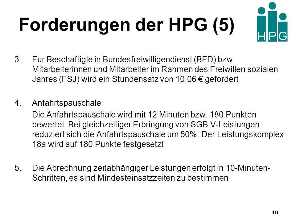 Forderungen der HPG (5) 3.Für Beschäftigte in Bundesfreiwilligendienst (BFD) bzw. Mitarbeiterinnen und Mitarbeiter im Rahmen des Freiwillen sozialen J