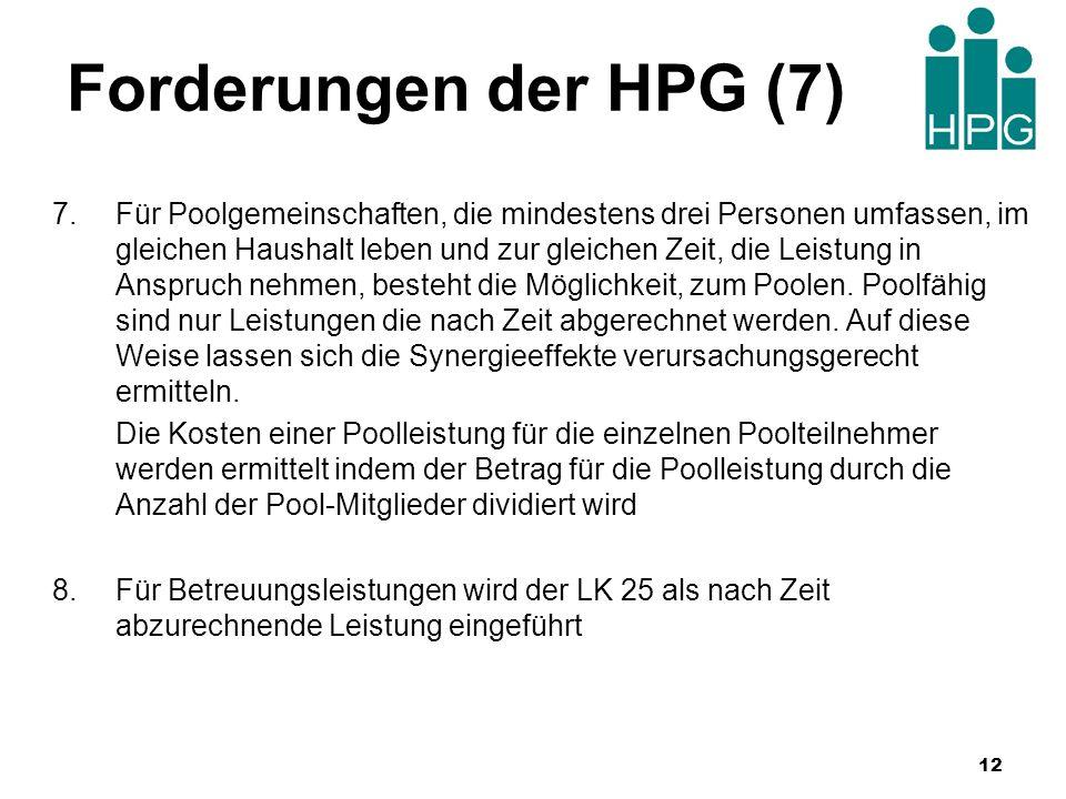 Forderungen der HPG (7) 7.Für Poolgemeinschaften, die mindestens drei Personen umfassen, im gleichen Haushalt leben und zur gleichen Zeit, die Leistun