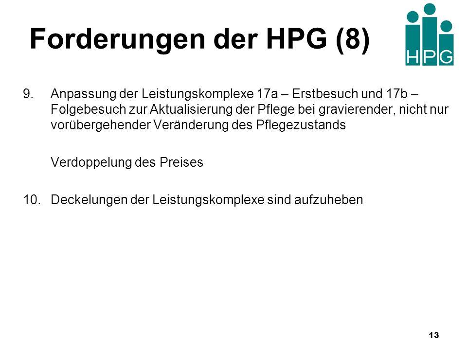 Forderungen der HPG (8) 9.Anpassung der Leistungskomplexe 17a – Erstbesuch und 17b – Folgebesuch zur Aktualisierung der Pflege bei gravierender, nicht