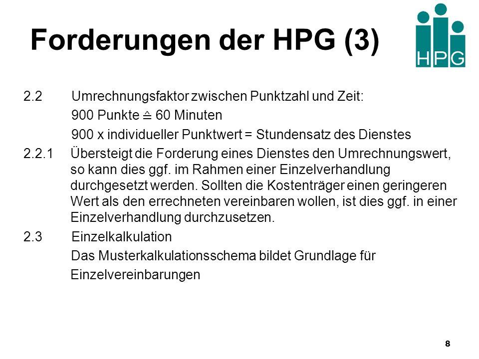 Forderungen der HPG (3) 2.2Umrechnungsfaktor zwischen Punktzahl und Zeit: 900 Punkte 60 Minuten 900 x individueller Punktwert = Stundensatz des Dienst