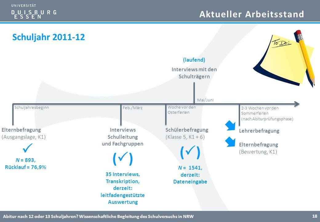 Aktueller Arbeitsstand Abitur nach 12 oder 13 Schuljahren? Wissenschaftliche Begleitung des Schulversuchs in NRW 18 Elternbefragung (Ausgangslage, K1)