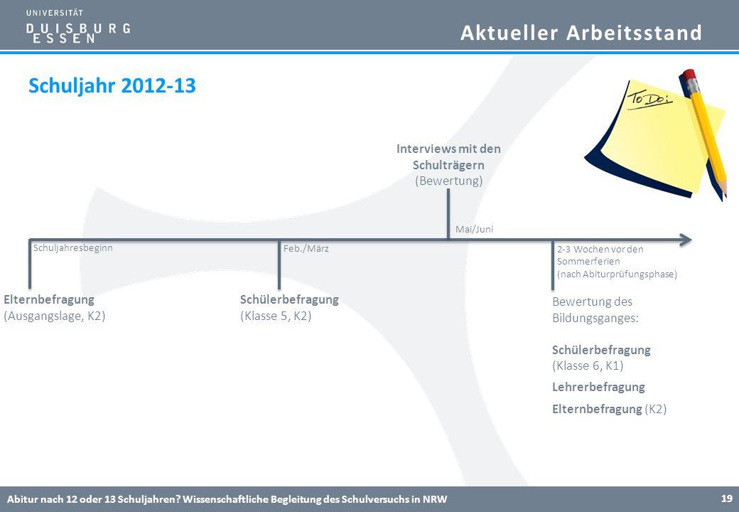 Aktueller Arbeitsstand Abitur nach 12 oder 13 Schuljahren? Wissenschaftliche Begleitung des Schulversuchs in NRW 19 Elternbefragung (Ausgangslage, K2)