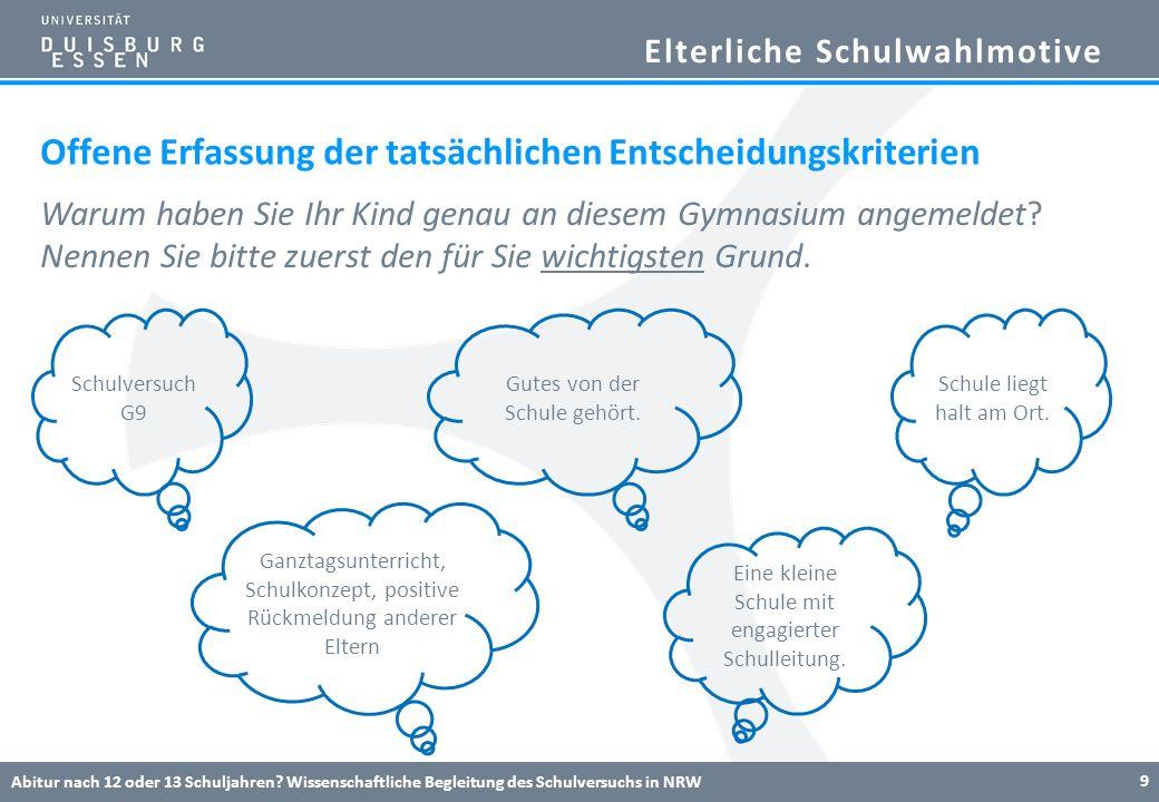 Elterliche Schulwahlmotive Abitur nach 12 oder 13 Schuljahren? Wissenschaftliche Begleitung des Schulversuchs in NRW 9 Offene Erfassung der tatsächlic