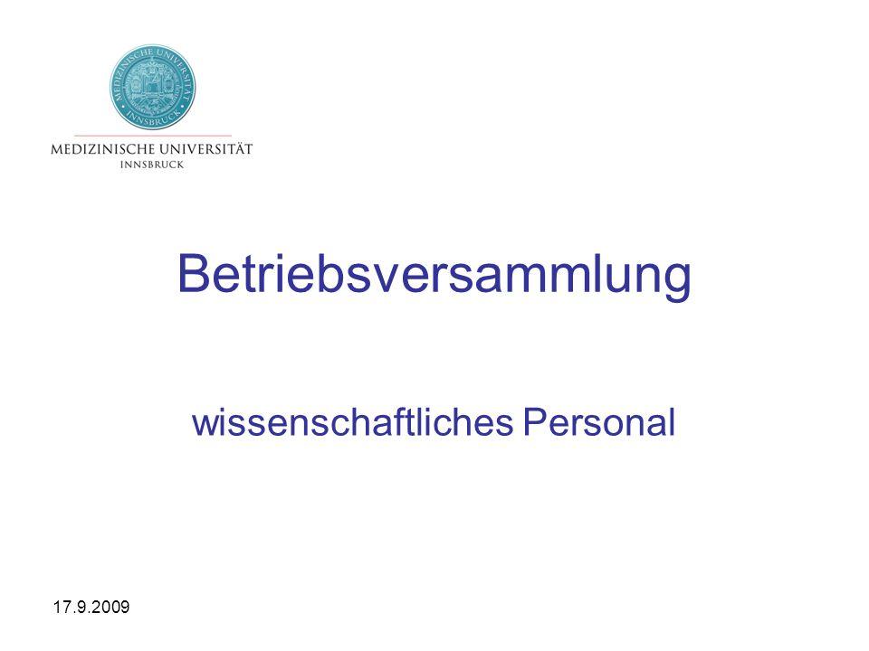 17.9.2009 Betriebsversammlung wissenschaftliches Personal