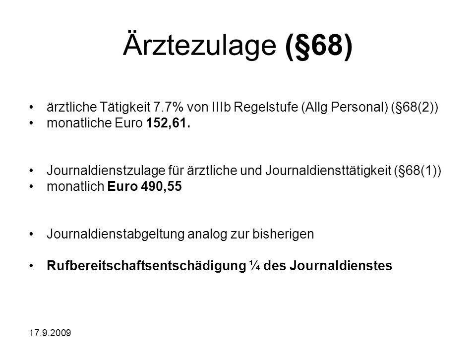 17.9.2009 Ärztezulage (§68) ärztliche Tätigkeit 7.7% von IIIb Regelstufe (Allg Personal) (§68(2)) monatliche Euro 152,61. Journaldienstzulage für ärzt