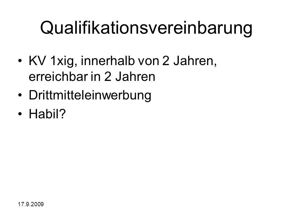 17.9.2009 Qualifikationsvereinbarung KV 1xig, innerhalb von 2 Jahren, erreichbar in 2 Jahren Drittmitteleinwerbung Habil?