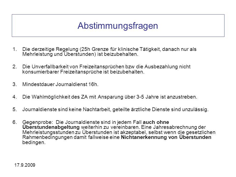 17.9.2009 Abstimmungsfragen 1.Die derzeitige Regelung (25h Grenze für klinische Tätigkeit, danach nur als Mehrleistung und Überstunden) ist beizubehal