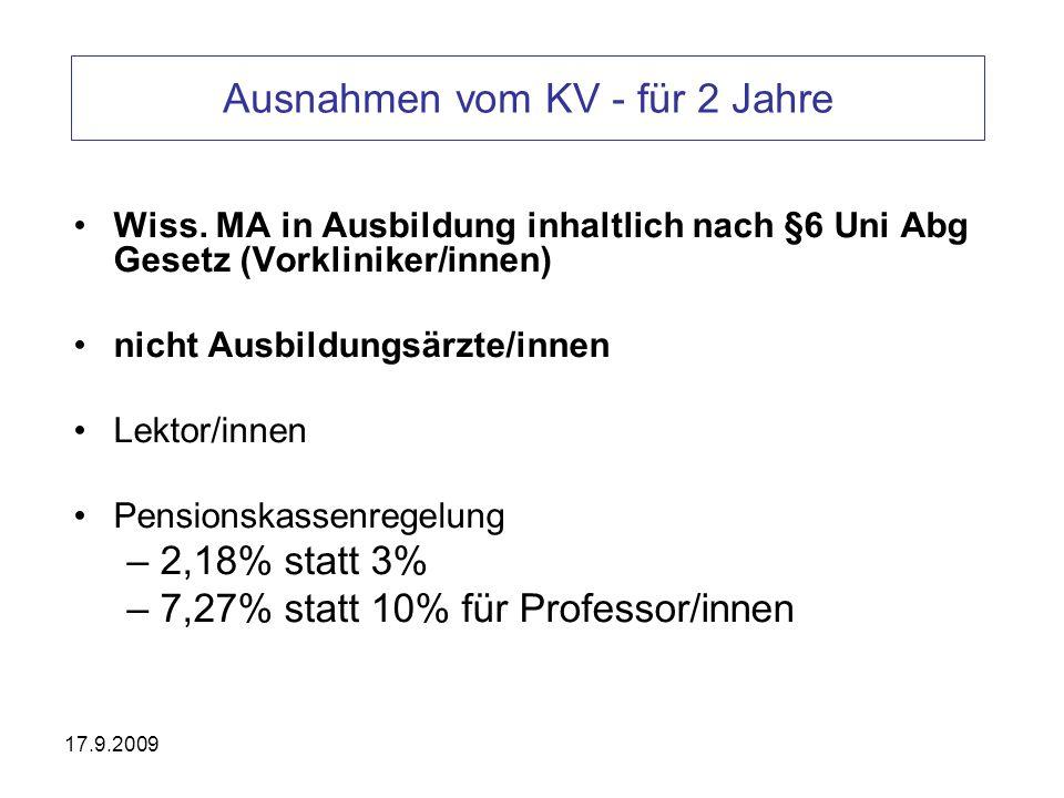 17.9.2009 erforderliche Betriebsvereinbarungen und Rahmenbedingungen BV- Verlängerte Dienste BV- Qualifikationsvereinbarungen Zahl der Laufbahnstellen