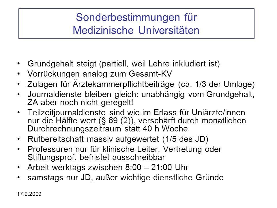 17.9.2009 Sonderbestimmungen für Medizinische Universitäten Grundgehalt steigt (partiell, weil Lehre inkludiert ist) Vorrückungen analog zum Gesamt-KV