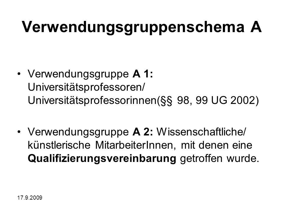17.9.2009 Verwendungsgruppenschema A Verwendungsgruppe A 1: Universitätsprofessoren/ Universitätsprofessorinnen(§§ 98, 99 UG 2002) Verwendungsgruppe A