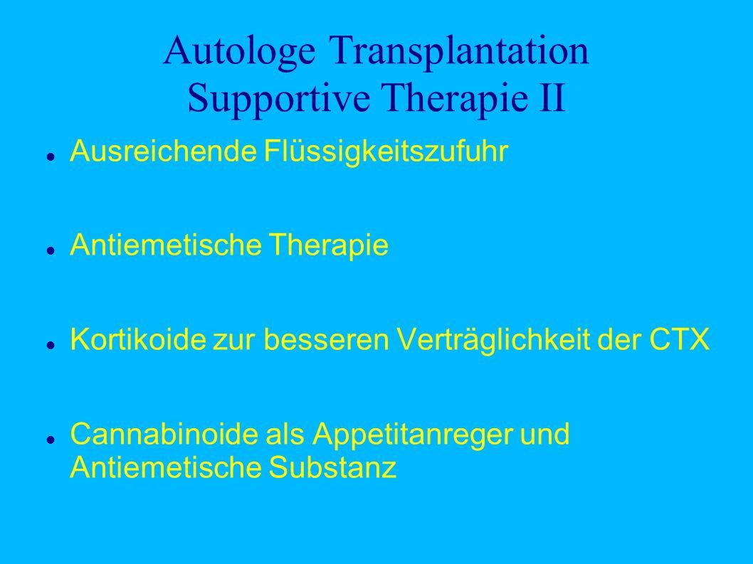 Autologe Transplantation Supportive Therapie II Ausreichende Flüssigkeitszufuhr Antiemetische Therapie Kortikoide zur besseren Verträglichkeit der CTX Cannabinoide als Appetitanreger und Antiemetische Substanz