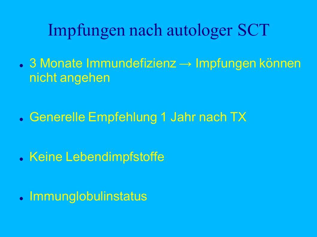 Impfungen nach autologer SCT 3 Monate Immundefizienz Impfungen können nicht angehen Generelle Empfehlung 1 Jahr nach TX Keine Lebendimpfstoffe Immunglobulinstatus