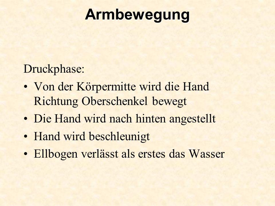 Armbewegung Druckphase: Von der Körpermitte wird die Hand Richtung Oberschenkel bewegt Die Hand wird nach hinten angestellt Hand wird beschleunigt Ell