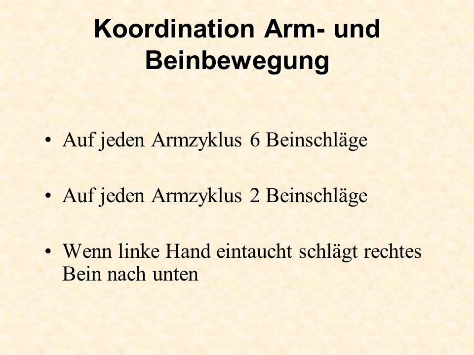 Koordination Arm- und Beinbewegung Auf jeden Armzyklus 6 Beinschläge Auf jeden Armzyklus 2 Beinschläge Wenn linke Hand eintaucht schlägt rechtes Bein