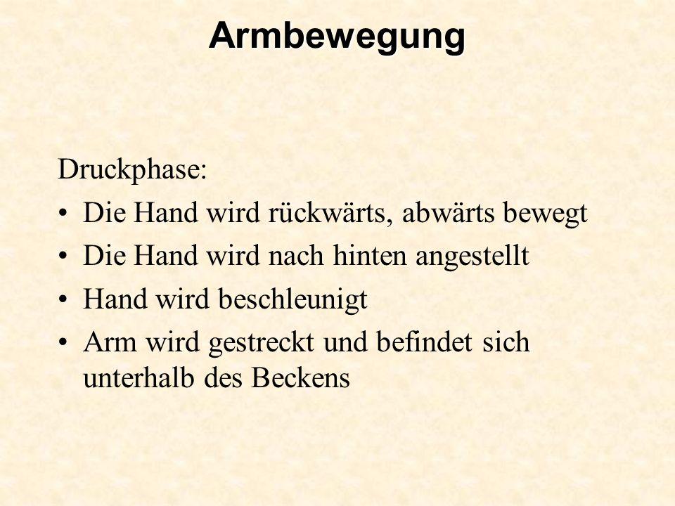 Armbewegung Druckphase: Die Hand wird rückwärts, abwärts bewegt Die Hand wird nach hinten angestellt Hand wird beschleunigt Arm wird gestreckt und bef