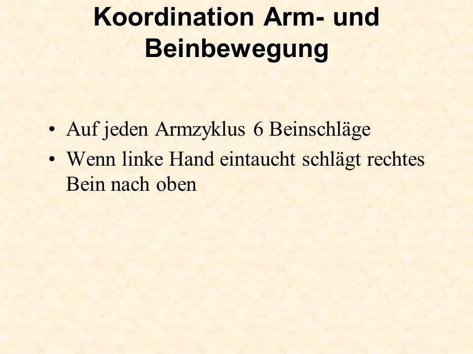 Koordination Arm- und Beinbewegung Auf jeden Armzyklus 6 Beinschläge Wenn linke Hand eintaucht schlägt rechtes Bein nach oben