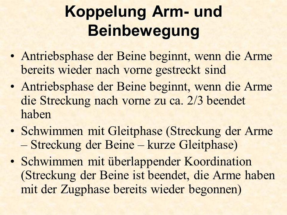 Koppelung Arm- und Beinbewegung Antriebsphase der Beine beginnt, wenn die Arme bereits wieder nach vorne gestreckt sind Antriebsphase der Beine beginn