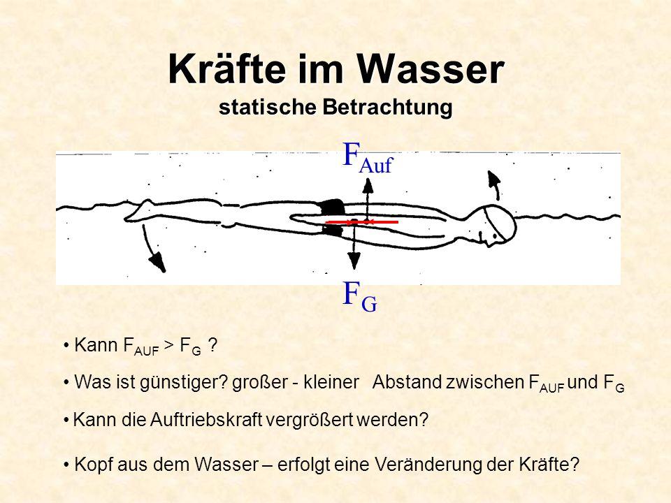 Kräfte im Wasser statische Betrachtung Kann F AUF > F G ? Was ist günstiger? großer - kleiner Abstand zwischen F AUF und F G Kann die Auftriebskraft v