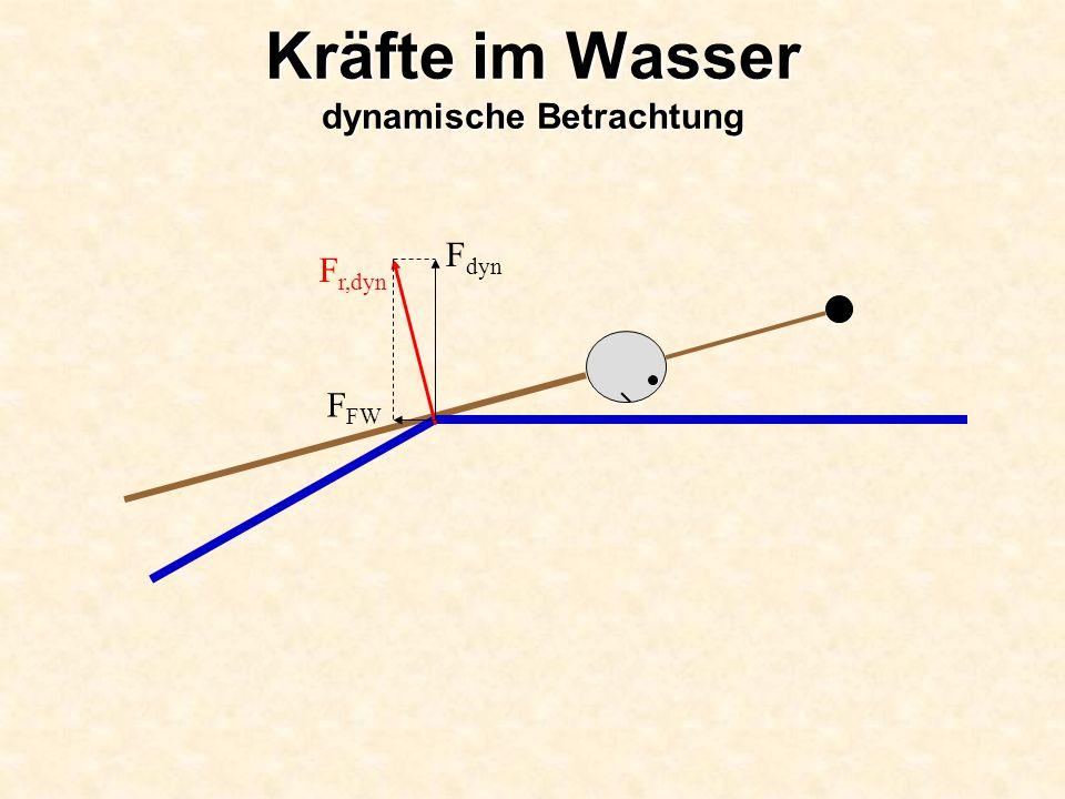 Kräfte im Wasser dynamische Betrachtung F r,dyn F dyn F FW