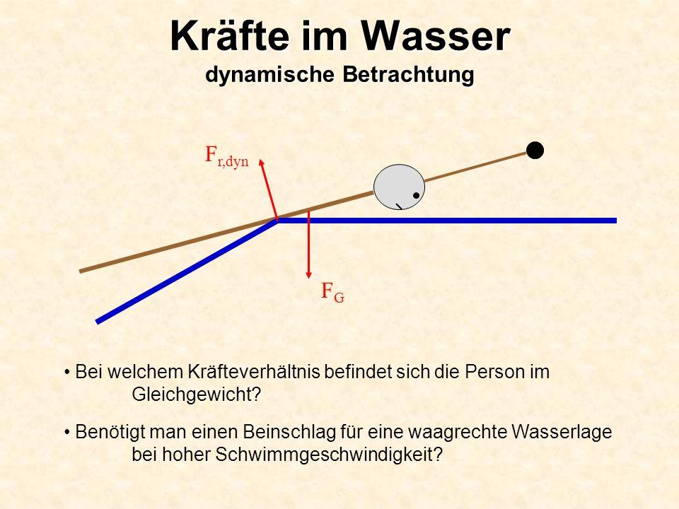 Kräfte im Wasser dynamische Betrachtung Bei welchem Kräfteverhältnis befindet sich die Person im Gleichgewicht? Benötigt man einen Beinschlag für eine
