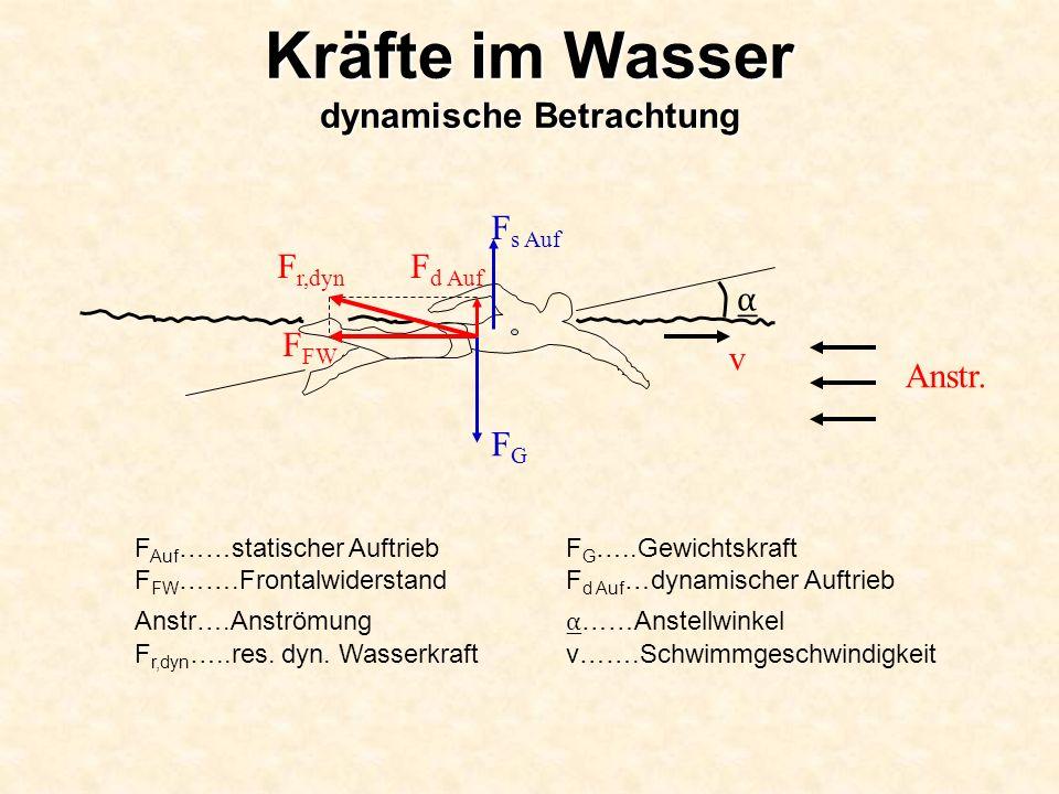 F Auf ……statischer Auftrieb F G …..Gewichtskraft F FW …….Frontalwiderstand F d Auf …dynamischer Auftrieb Anstr….Anströmung ……Anstellwinkel F r,dyn …..